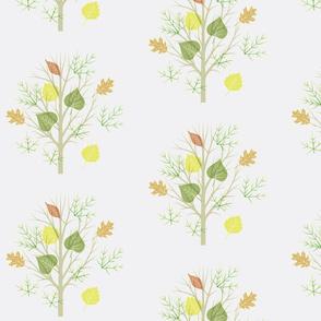 autumn foliage on grey