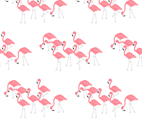 flamingo family group coral fabric by liter80 on Spoonflower - custom fabric
