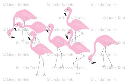 flamingo family group light pink