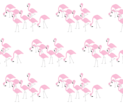 flamingo family group light pink fabric by liter80 on Spoonflower - custom fabric
