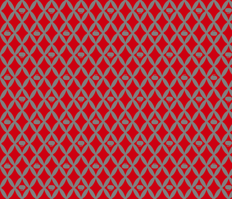 Curling Rock Ogee, Crimson and Gray fabric by solsticejo on Spoonflower - custom fabric