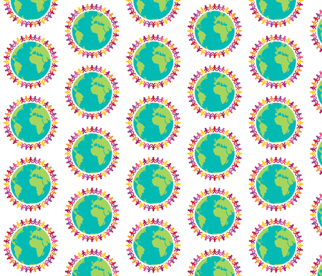 Holding Hands Around The World fabric by free_spirit_designs on Spoonflower - custom fabric
