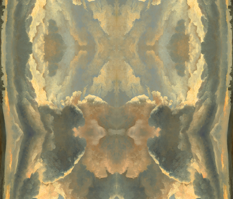 Painting: Study of Clouds with a Sunset Near Rome, a painting by Simon Alexandre Clément Denis fabric by ninniku on Spoonflower - custom fabric