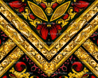 Stained Glass Harlequin Argyle Diamonds Red and Gold Tiles