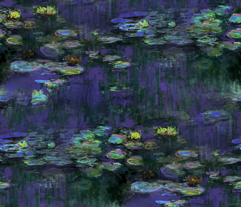 Claude Monet ~ Waterlilies ~ At Night ~ Large fabric by peacoquettedesigns on Spoonflower - custom fabric