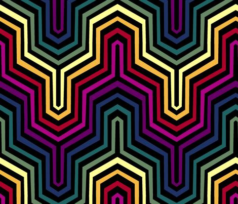 Rainbow Garden Carpet Chevron II. fabric by pond_ripple on Spoonflower - custom fabric