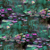 Claude Monet ~ Water Lilies ~ Emerald and Orchid