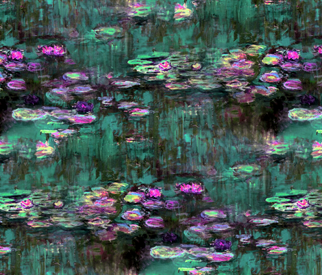 Claude Monet ~ Water Lilies ~ Emerald and Orchid fabric by peacoquettedesigns on Spoonflower - custom fabric