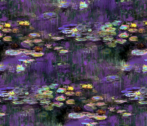 Claude Monet ~ Waterlilies ~ Twilight fabric by peacoquettedesigns on Spoonflower - custom fabric