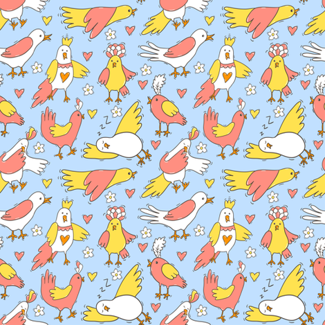 Funny little birds fabric by magicforestory on Spoonflower - custom fabric