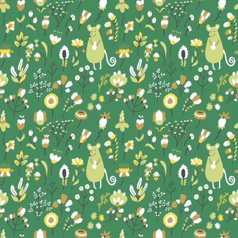 Cute mouse with seed in the field fabric by magicforestory on Spoonflower - custom fabric
