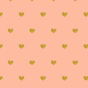 Gold heart on Peach