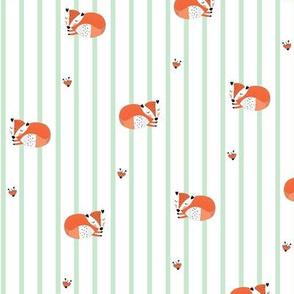 Sleeping fox on green stripes