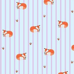 Sleeping fox pink blue
