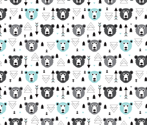 Geometric Grizzly Bear Woodland Illustration Pattern Blue Fabric
