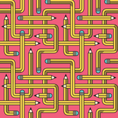 Pencil Maze Pattern yellow small