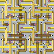 Pencil Maze Pattern grey small