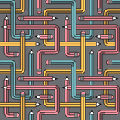Pencil Maze Pattern pastel grey multi