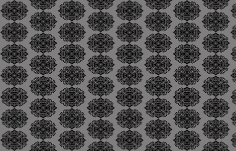 Damask Black on Gray fabric by phatcatpatch on Spoonflower - custom fabric