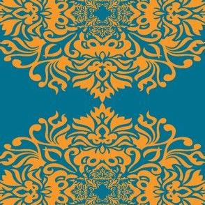 Damask orange on Teal