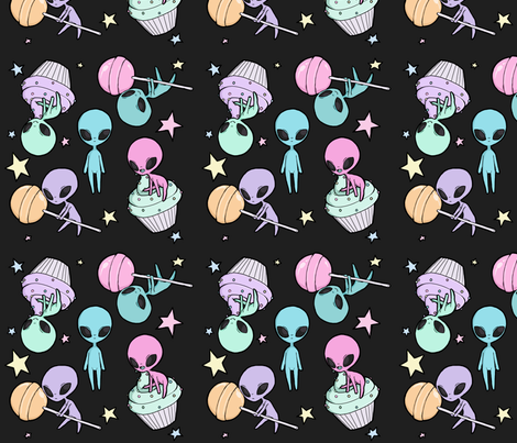 Aliens and sweets fabric missmorbid spoonflower for Alien fabric