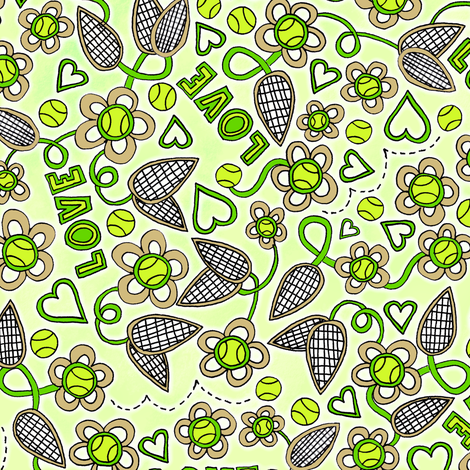 Tennis Love-Love fabric by robyriker on Spoonflower - custom fabric