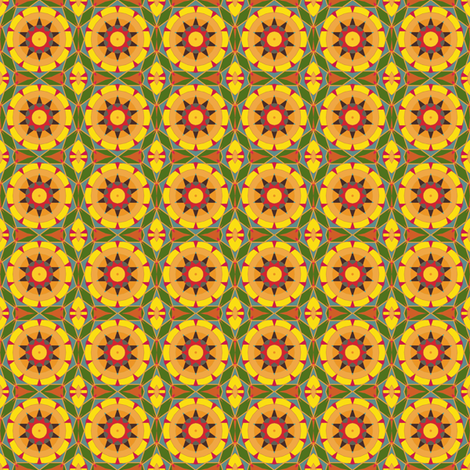 Summery Yellow Kaleidoscope fabric by gingezel on Spoonflower - custom fabric