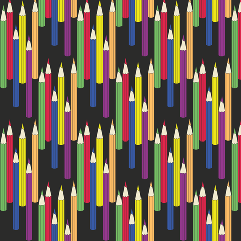 pencils_black fabric by wextverk on Spoonflower - custom fabric