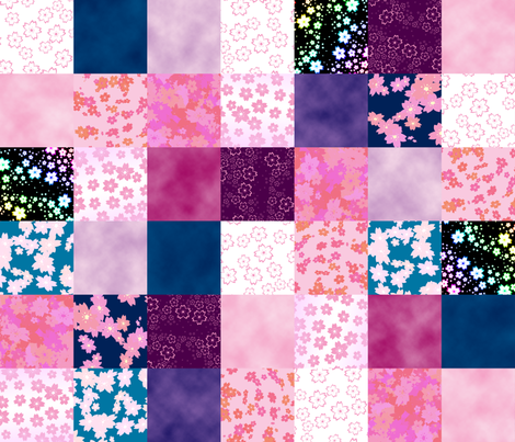 Sweet Sakura Patchwork fabric by vicemage on Spoonflower - custom fabric