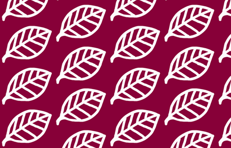 Leaf white on Burgundy   fabric by phatcatpatch on Spoonflower - custom fabric