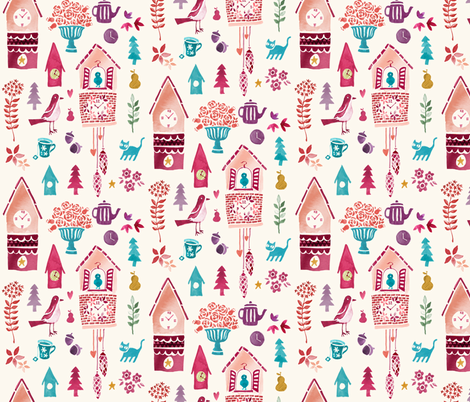 Sweet Pink Cuckoo Clock fabric by ceneri on Spoonflower - custom fabric