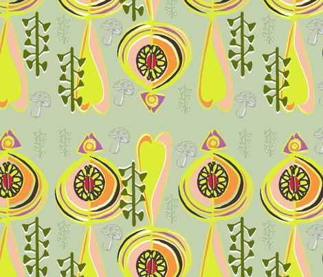 Nouveau Woodland Stripe fabric by slumbermonkey on Spoonflower - custom fabric