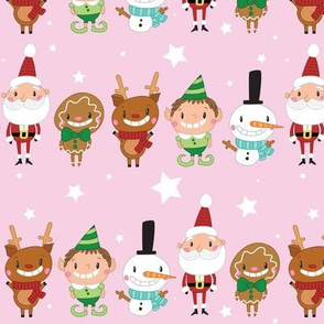 Christmas Crew - Pink - Line - Large