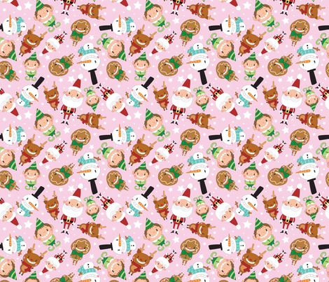 Christmas Crew - Pink - Scattered - Large fabric by pigandpumpkin on Spoonflower - custom fabric