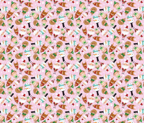 Christmas Crew - Pink - Scattered - Medium fabric by pigandpumpkin on Spoonflower - custom fabric