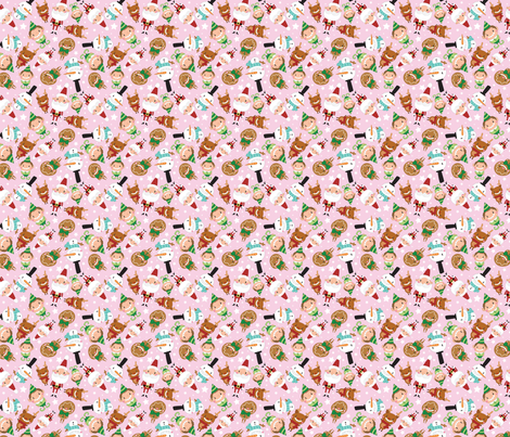 Christmas Crew - Pink - Scattered - Small fabric by pigandpumpkin on Spoonflower - custom fabric