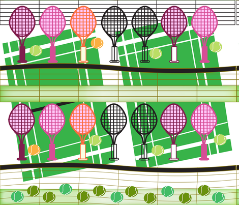 SOOBLOO_TENNIS for TWO fabric by soobloo on Spoonflower - custom fabric