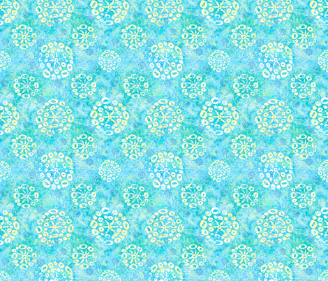 Herbal batik #2 light aqua fabric by helenpdesigns on Spoonflower - custom fabric