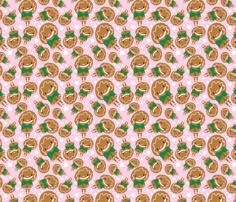 Christmas Crew - Gingerbread Man - Pink - Medium fabric by pigandpumpkin on Spoonflower - custom fabric