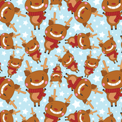 Christmas Crew - Reindeer - Blue - Medium