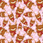 Christmas Crew - Reindeer - Pink - Medium