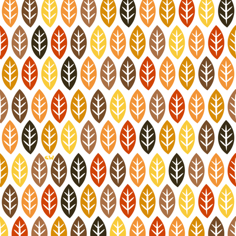 Fall Leaves & Little Trees fabric by christinewitte on Spoonflower - custom fabric