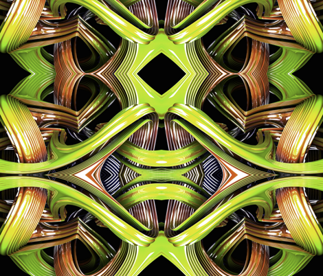 Cyborg guts green fabric by whimzwhirled on Spoonflower - custom fabric