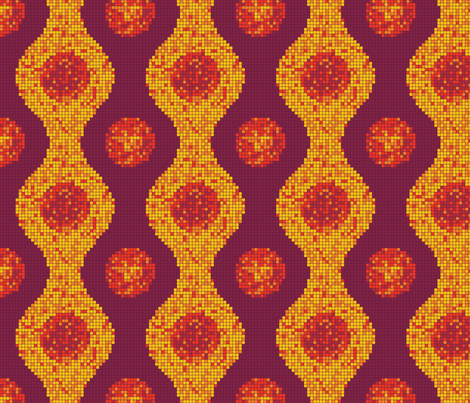 Pixel Pods Warm Colors fabric by thecharmingneedle on Spoonflower - custom fabric