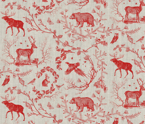 Woodland Winter Toile (in Cranberry) fabric by nouveau_bohemian on Spoonflower - custom fabric
