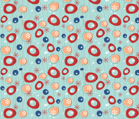 Fifties Style in Aqua fabric by snowflower on Spoonflower - custom fabric
