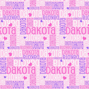 Personalised Name Design - Hearts in Pink and Purple