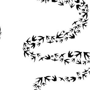 Birds Fly in Squiggle Black
