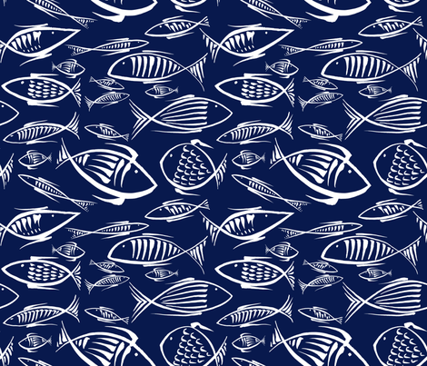 among the fishes blue50 fabric by chicca_besso on Spoonflower - custom fabric