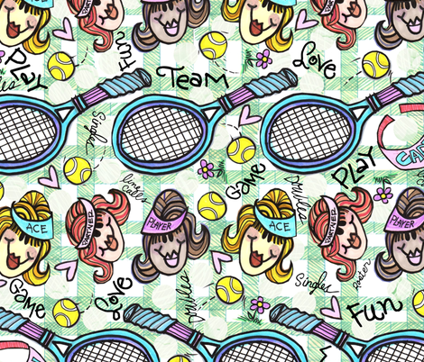 Tennis Ladies Team fabric by cyndilou on Spoonflower - custom fabric